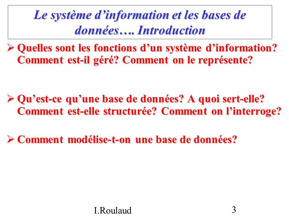 I.Roulaud 4 La base de données : introduction Définition Définition Plusieurs étapes pour la créer Plusieurs étapes pour la créer La représentation dune base de données et le modèle relationnel La représentation dune base de données et le modèle relationnel