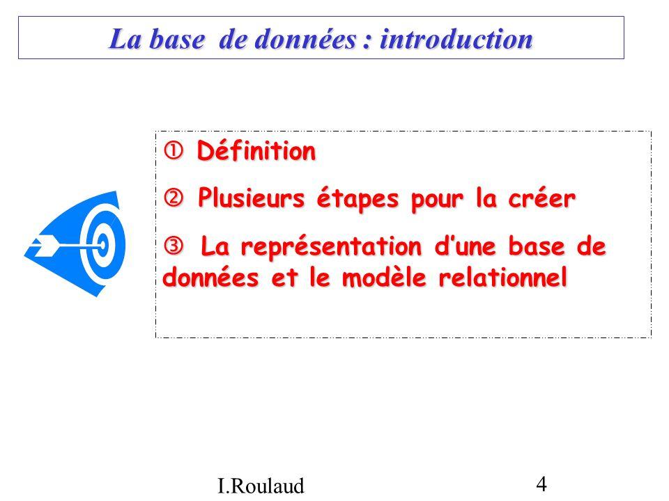 I.Roulaud 4 La base de données : introduction Définition Définition Plusieurs étapes pour la créer Plusieurs étapes pour la créer La représentation du
