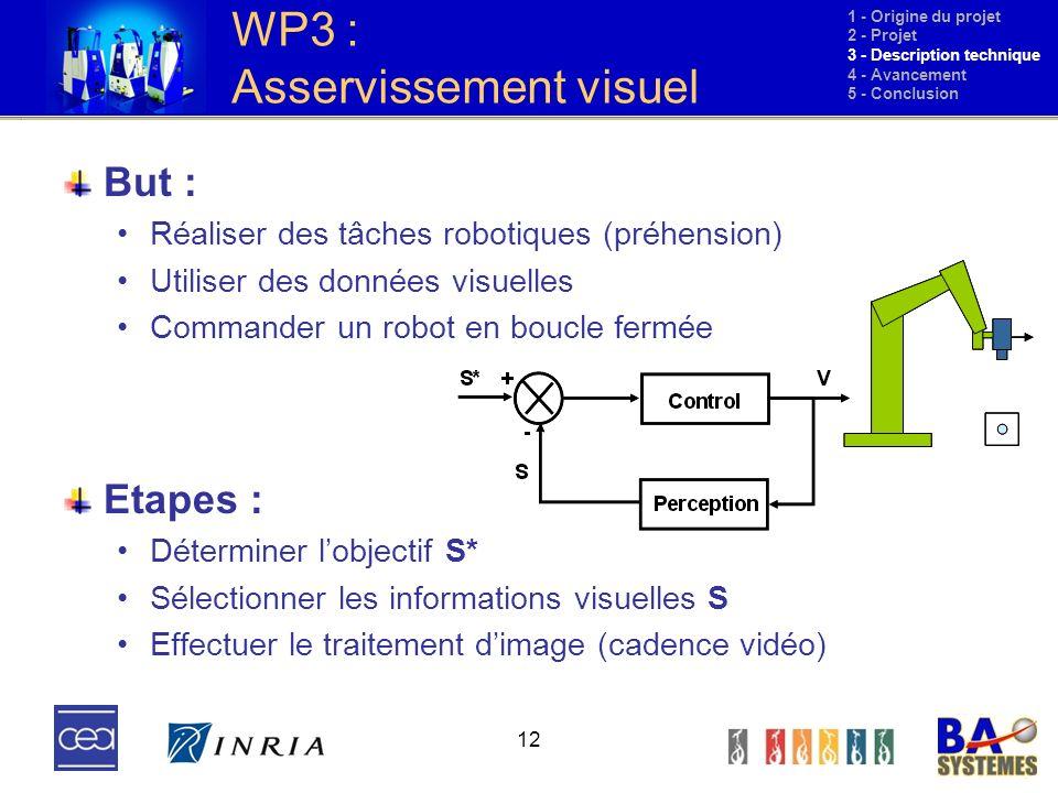 12 WP3 : Asservissement visuel But : Réaliser des tâches robotiques (préhension) Utiliser des données visuelles Commander un robot en boucle fermée Et