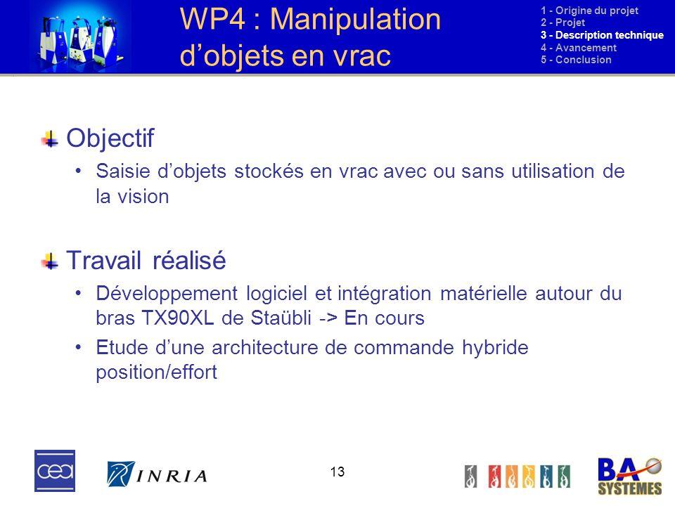 13 WP4 : Manipulation dobjets en vrac Objectif Saisie dobjets stockés en vrac avec ou sans utilisation de la vision Travail réalisé Développement logi
