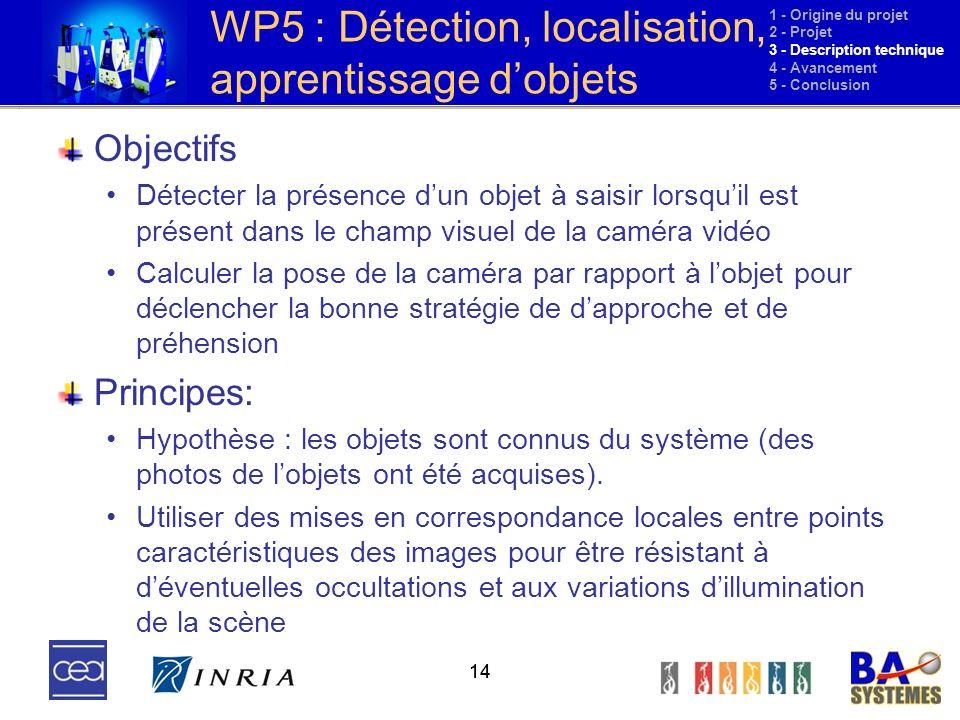 14 WP5 : Détection, localisation, apprentissage dobjets Objectifs Détecter la présence dun objet à saisir lorsquil est présent dans le champ visuel de