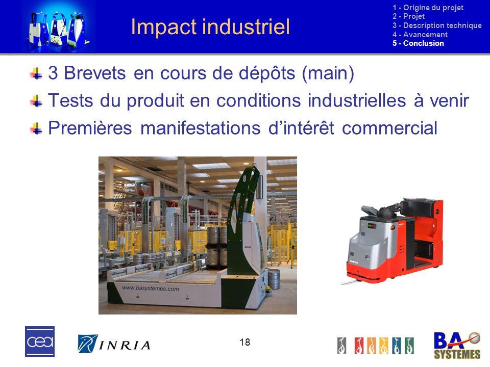 18 Impact industriel 3 Brevets en cours de dépôts (main) Tests du produit en conditions industrielles à venir Premières manifestations dintérêt commer
