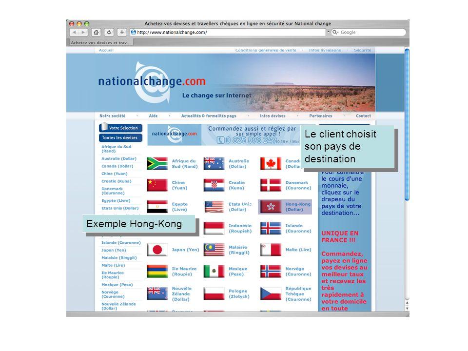 Le client choisit son pays de destination Exemple Hong-Kong