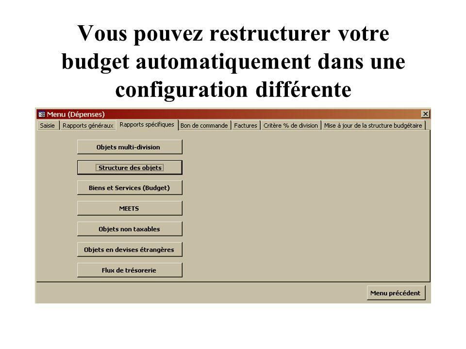 Vous pouvez restructurer votre budget automatiquement dans une configuration différente