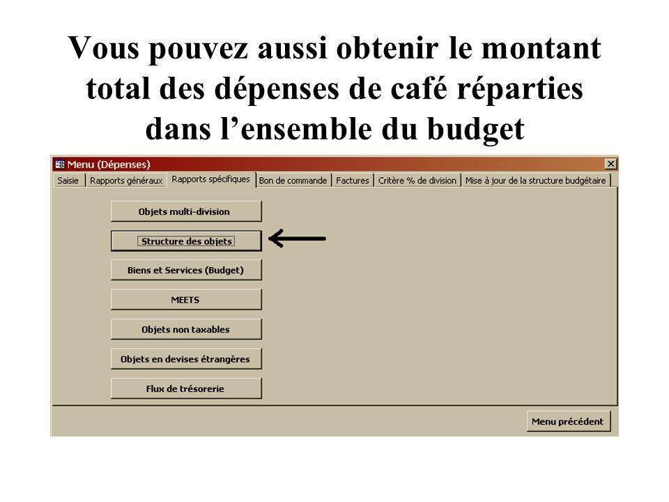 Vous pouvez aussi obtenir le montant total des dépenses de café réparties dans lensemble du budget