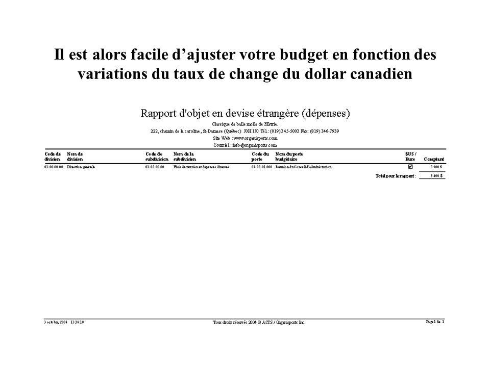 Il est alors facile dajuster votre budget en fonction des variations du taux de change du dollar canadien