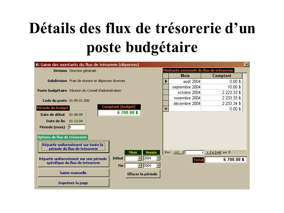 Détails des flux de trésorerie dun poste budgétaire