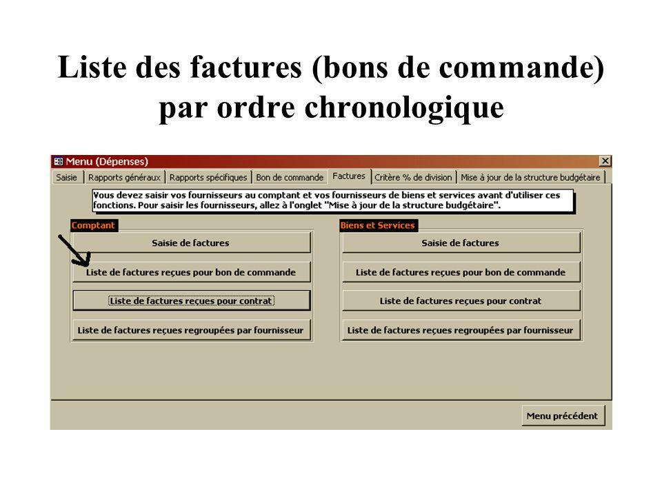 Liste des factures (bons de commande) par ordre chronologique