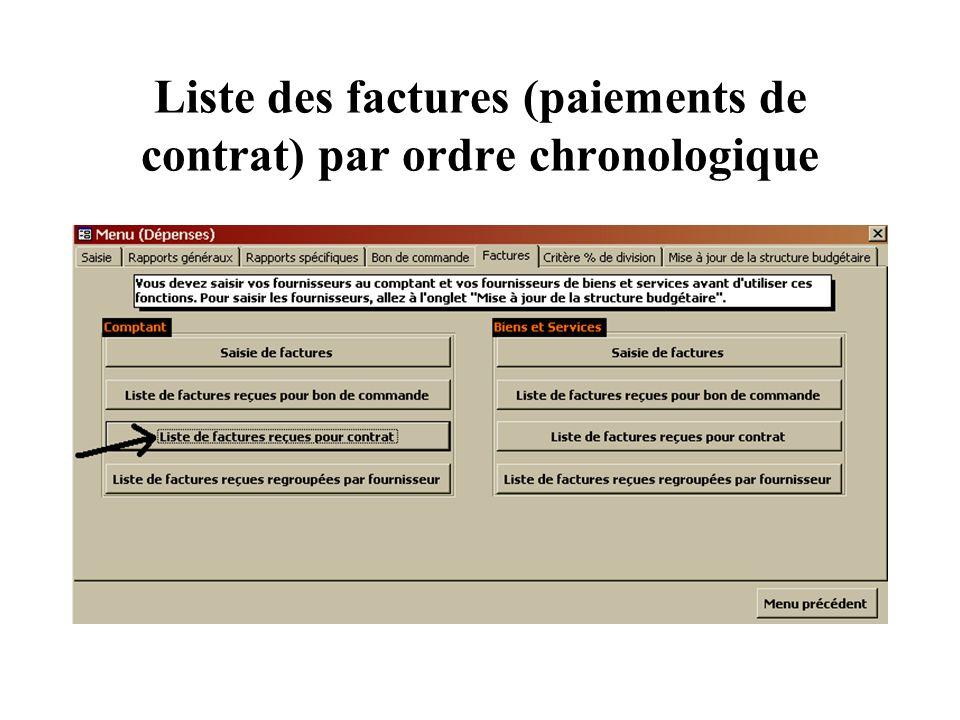 Liste des factures (paiements de contrat) par ordre chronologique