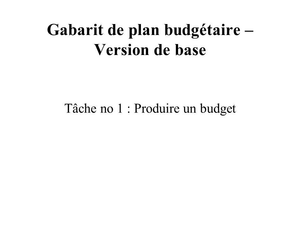 Gabarit de plan budgétaire – Version de base Tâche no 1 : Produire un budget