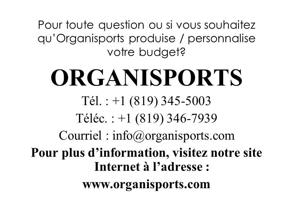 Pour toute question ou si vous souhaitez quOrganisports produise / personnalise votre budget.