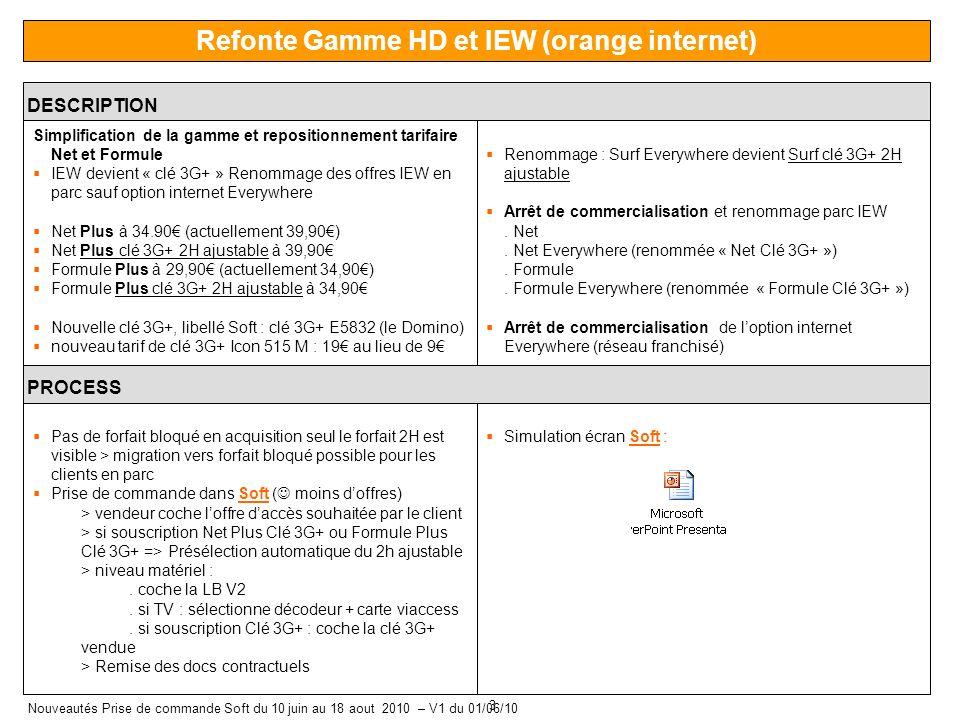 3 Nouveautés Prise de commande Soft du 10 juin au 18 aout 2010 – V1 du 01/06/10 Refonte Gamme HD et IEW (orange internet) DESCRIPTION Simplification de la gamme et repositionnement tarifaire Net et Formule IEW devient « clé 3G+ » Renommage des offres IEW en parc sauf option internet Everywhere Net Plus à 34.90 (actuellement 39,90) Net Plus clé 3G+ 2H ajustable à 39,90 Formule Plus à 29,90 (actuellement 34,90) Formule Plus clé 3G+ 2H ajustable à 34,90 Nouvelle clé 3G+, libellé Soft : clé 3G+ E5832 (le Domino) nouveau tarif de clé 3G+ Icon 515 M : 19 au lieu de 9 Renommage : Surf Everywhere devient Surf clé 3G+ 2H ajustable Arrêt de commercialisation et renommage parc IEW.