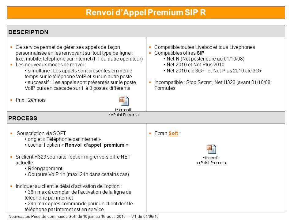 4 Nouveautés Prise de commande Soft du 10 juin au 18 aout 2010 – V1 du 01/06/10 Renvoi dAppel Premium SIP R DESCRIPTION Ce service permet de gérer ses