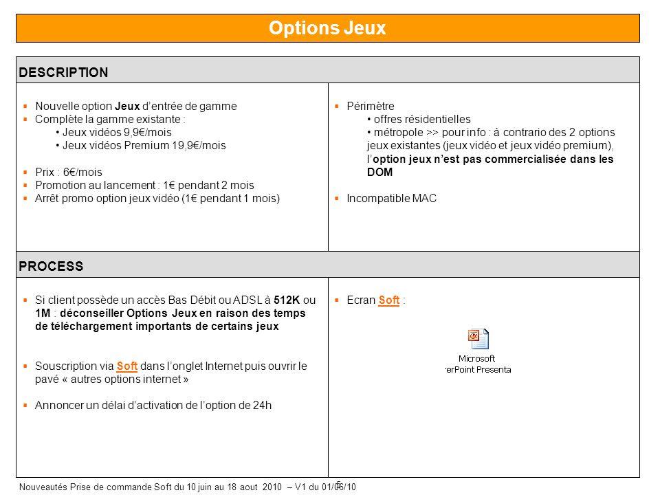 5 Nouveautés Prise de commande Soft du 10 juin au 18 aout 2010 – V1 du 01/06/10 Options Jeux DESCRIPTION Nouvelle option Jeux dentrée de gamme Complèt