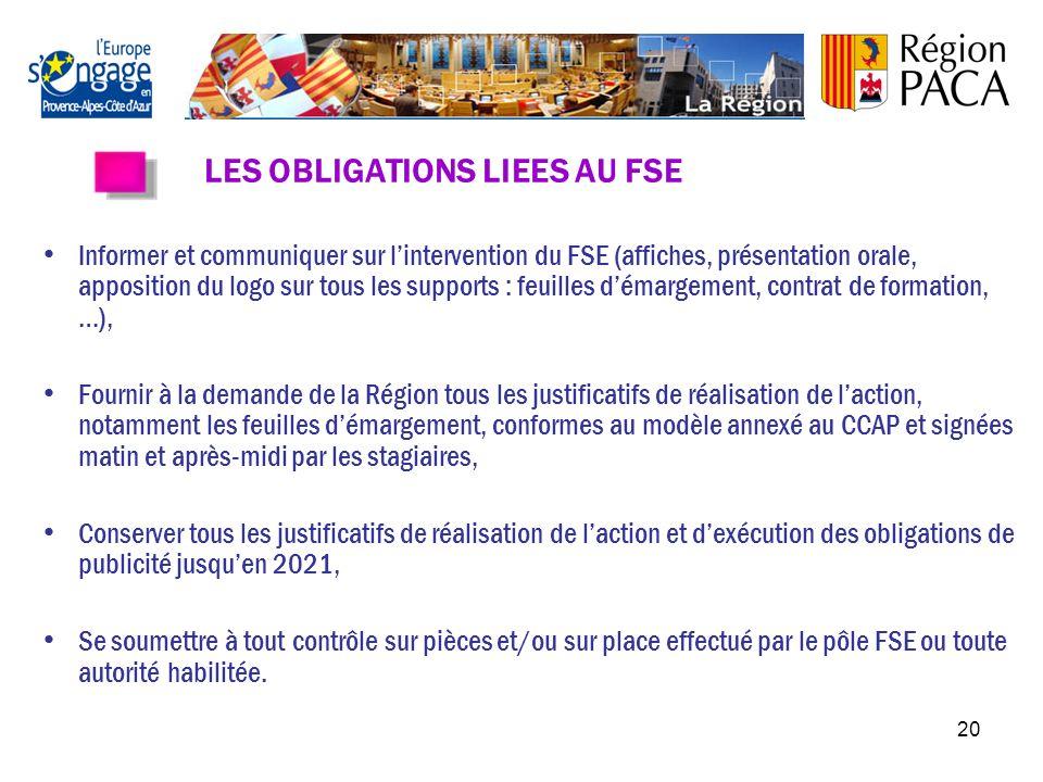 19 LE FONDS SOCIAL EUROPEEN (FSE) Le Fonds Social Européen est le principal levier financier de lUnion européenne pour la promotion de lemploi. La Rég