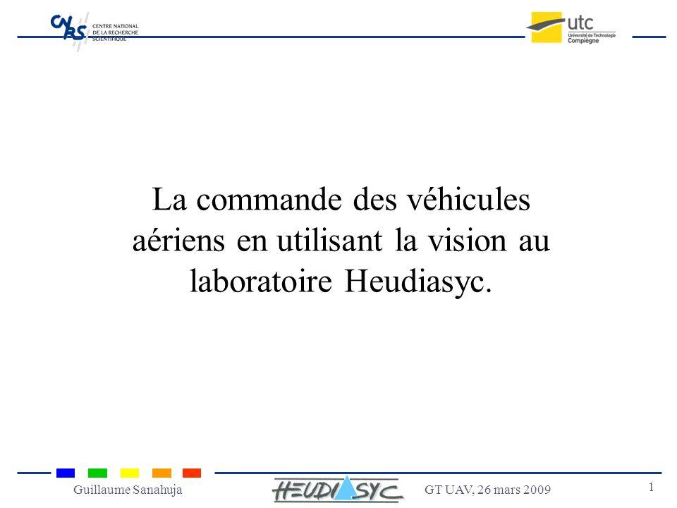 GT UAV, 26 mars 2009 1 Guillaume Sanahuja La commande des véhicules aériens en utilisant la vision au laboratoire Heudiasyc.