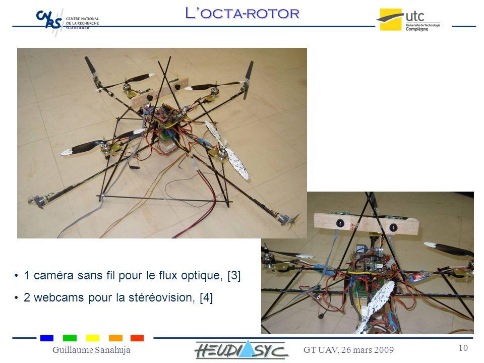 GT UAV, 26 mars 2009 10 Guillaume SanahujaLocta-rotor 1 caméra sans fil pour le flux optique, [3] 2 webcams pour la stéréovision, [4]