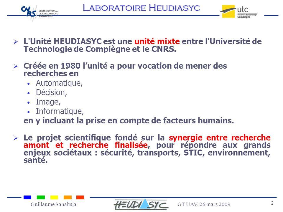 GT UAV, 26 mars 2009 3 Guillaume Sanahuja Plates-formes et démonstrateurs Véhicules Ferroviaire Drones Vision Réseaux Réalité virtuelle Laboratoire Heudiasyc