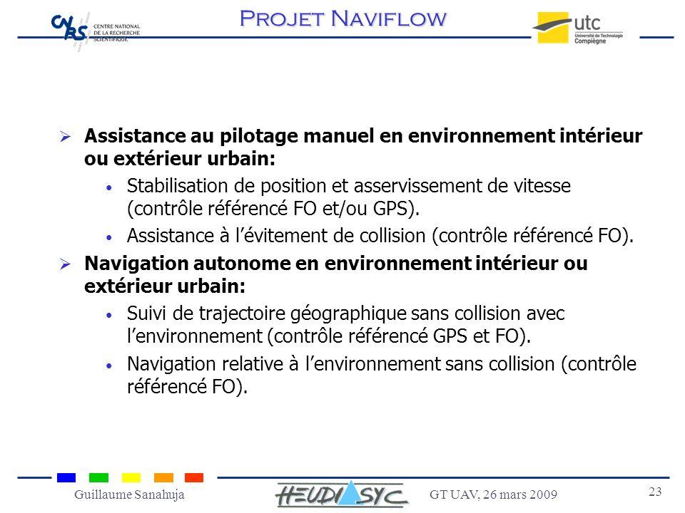 GT UAV, 26 mars 2009 23 Guillaume Sanahuja Assistance au pilotage manuel en environnement intérieur ou extérieur urbain: Stabilisation de position et