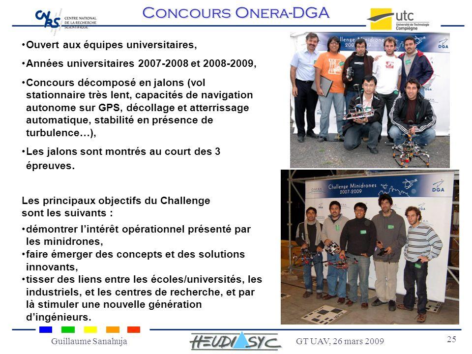 GT UAV, 26 mars 2009 25 Guillaume Sanahuja Concours Onera-DGA Ouvert aux équipes universitaires, Années universitaires 2007-2008 et 2008-2009, Concour