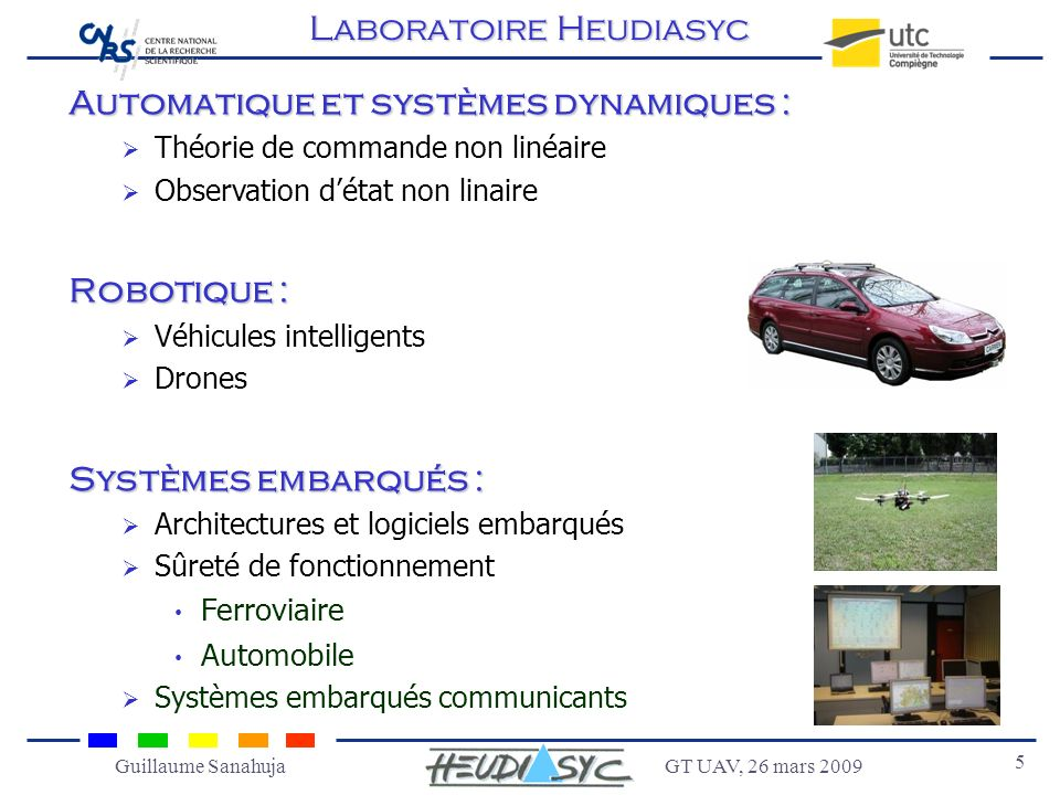 GT UAV, 26 mars 2009 5 Guillaume Sanahuja Automatique et systèmes dynamiques : Théorie de commande non linéaire Observation détat non linaire Robotiqu
