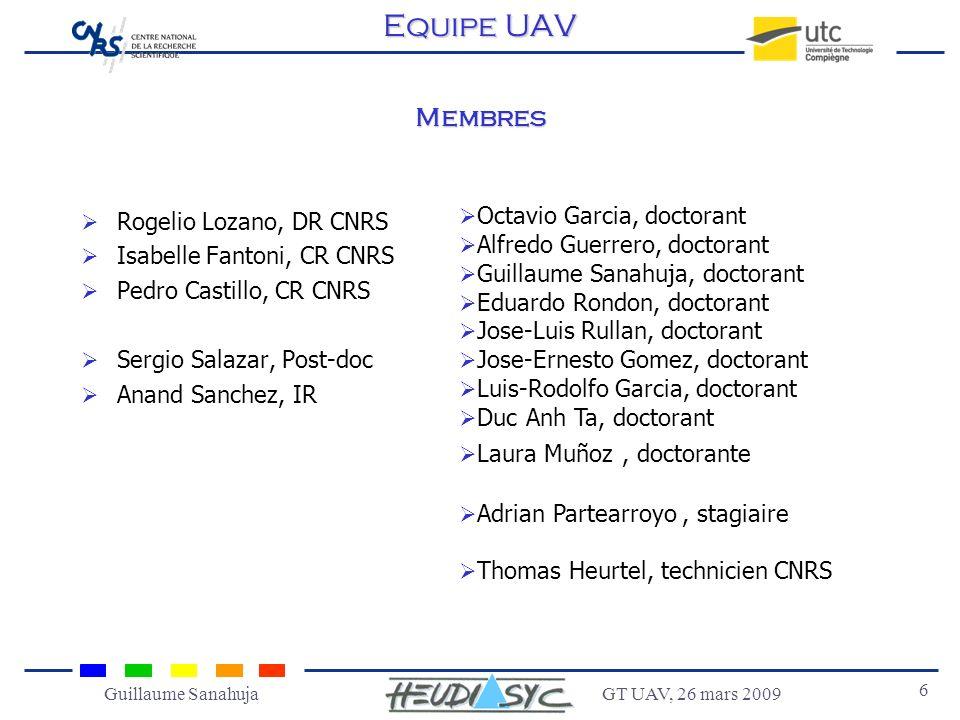 GT UAV, 26 mars 2009 6 Guillaume Sanahuja Membres Rogelio Lozano, DR CNRS Isabelle Fantoni, CR CNRS Pedro Castillo, CR CNRS Sergio Salazar, Post-doc A