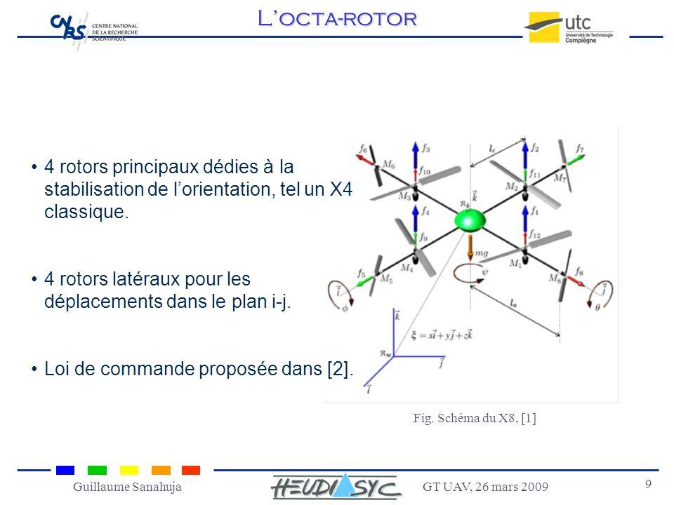 GT UAV, 26 mars 2009 9 Guillaume Sanahuja 4 rotors principaux dédies à la stabilisation de lorientation, tel un X4 classique. 4 rotors latéraux pour l