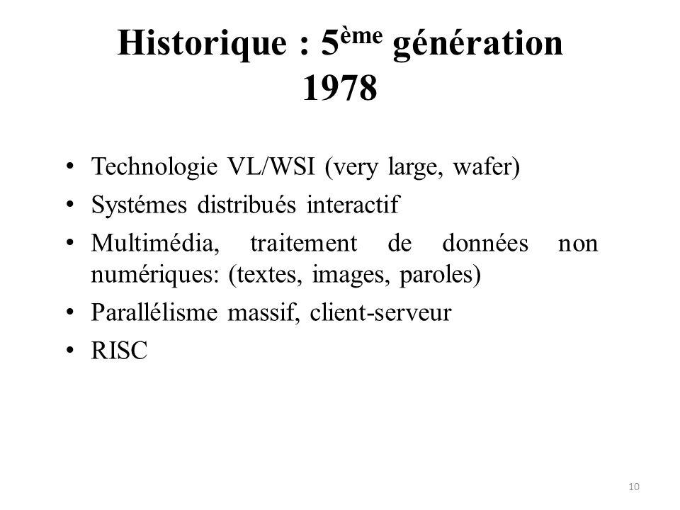 Technologie VL/WSI (very large, wafer) Systémes distribués interactif Multimédia, traitement de données non numériques: (textes, images, paroles) Para