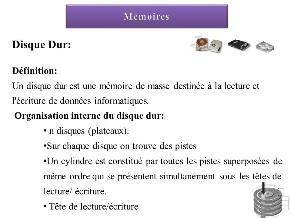 Disque Dur: Définition: Un disque dur est une mémoire de masse destinée à la lecture et l'écriture de données informatiques. Organisation interne du d