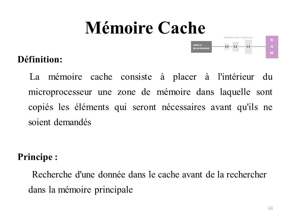 Mémoire Cache Définition: La mémoire cache consiste à placer à l'intérieur du microprocesseur une zone de mémoire dans laquelle sont copiés les élémen
