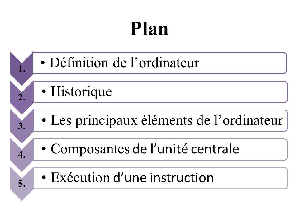 1. Définition de lordinateur 2. Historique 3. Les principaux éléments de lordinateur 4. Composantes de lunité centrale 5. Exécution dune instruction P