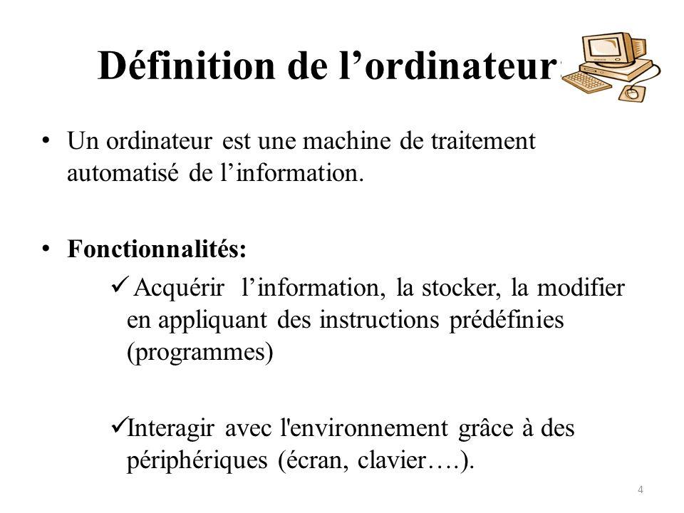 Définition de lordinateur: Un ordinateur est une machine de traitement automatisé de linformation. Fonctionnalités: Acquérir linformation, la stocker,
