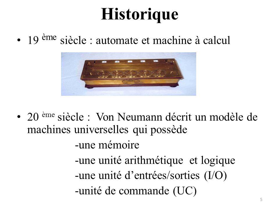 Historique 19 ème siècle : automate et machine à calcul 20 ème siècle : Von Neumann décrit un modèle de machines universelles qui possède -une mémoire
