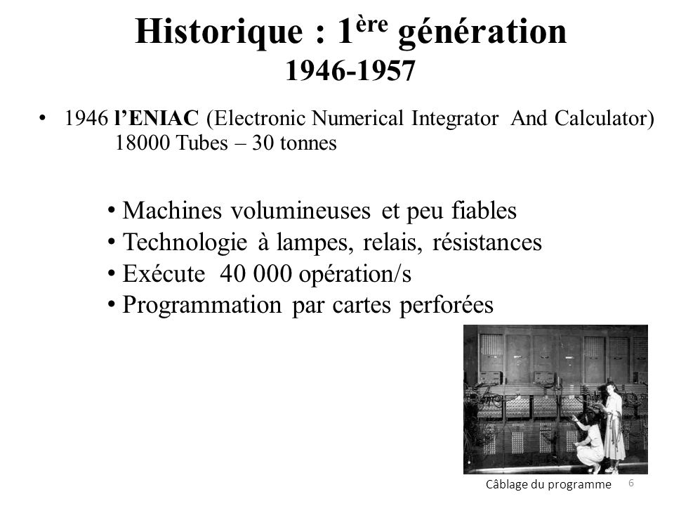 1946 lENIAC (Electronic Numerical Integrator And Calculator) 18000 Tubes – 30 tonnes Câblage du programme Machines volumineuses et peu fiables Technol