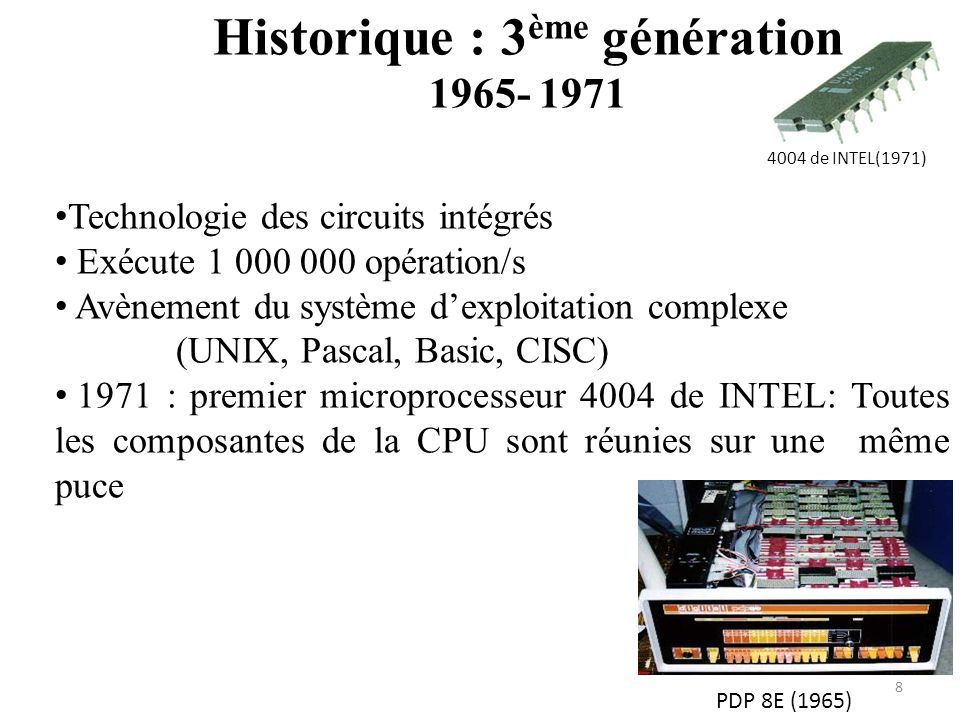 PDP 8E (1965) 4004 de INTEL(1971) Historique : 3 ème génération 1965- 1971 8 Technologie des circuits intégrés Exécute 1 000 000 opération/s Avènement