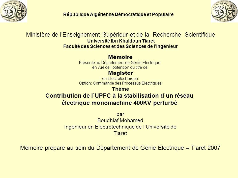 République Algérienne Démocratique et Populaire Ministère de lEnseignement Supérieur et de la Recherche Scientifique Université Ibn Khaldoun Tiaret Fa
