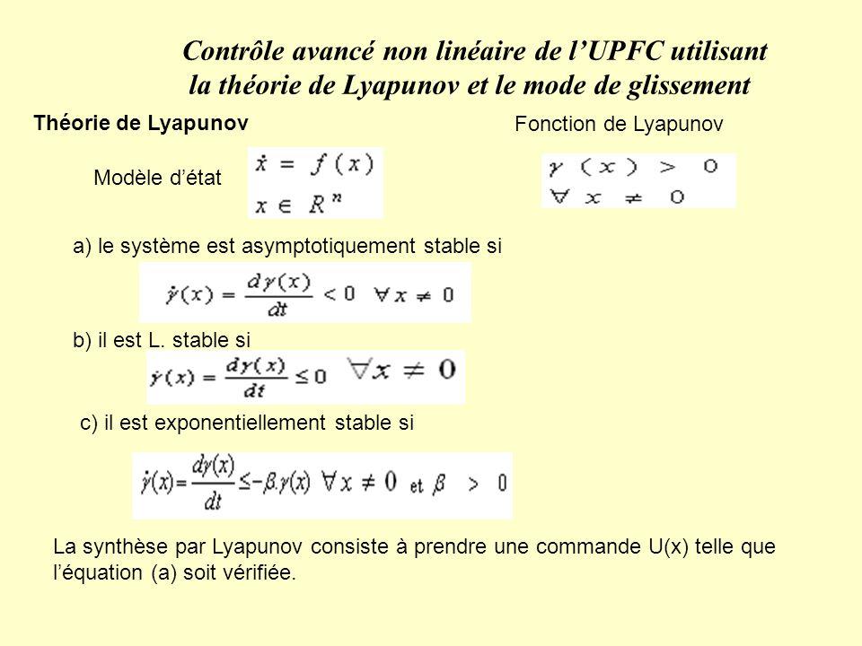 Théorie de Lyapunov Fonction de Lyapunov a) le système est asymptotiquement stable si b) il est L. stable si c) il est exponentiellement stable si La