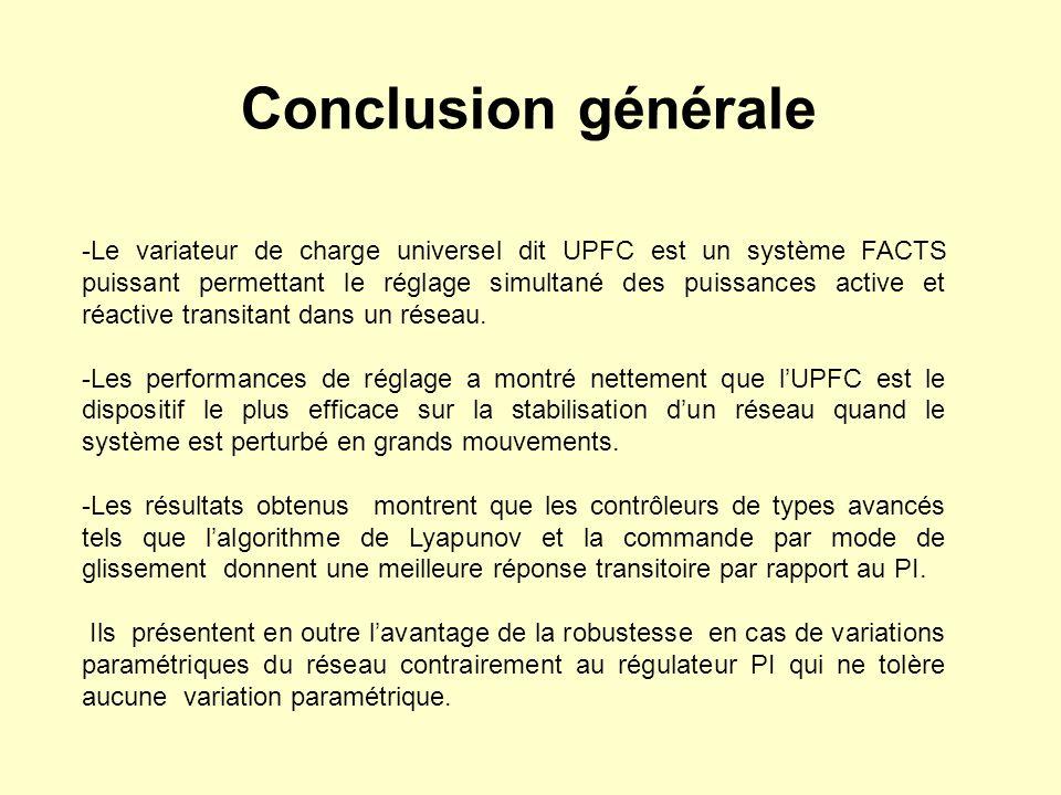 Conclusion générale -Le variateur de charge universel dit UPFC est un système FACTS puissant permettant le réglage simultané des puissances active et
