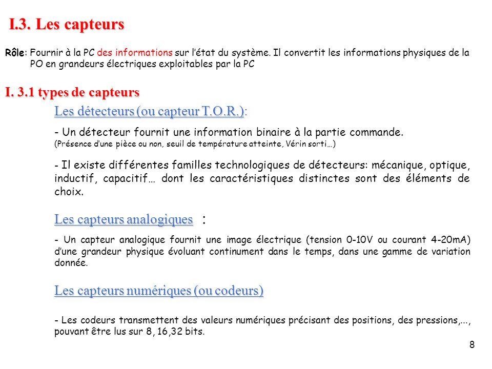 8 I.3. Les capteurs I. 3.1 types de capteurs Les détecteurs (ou capteur T.O.R.) Les détecteurs (ou capteur T.O.R.): - Un détecteur fournit une informa