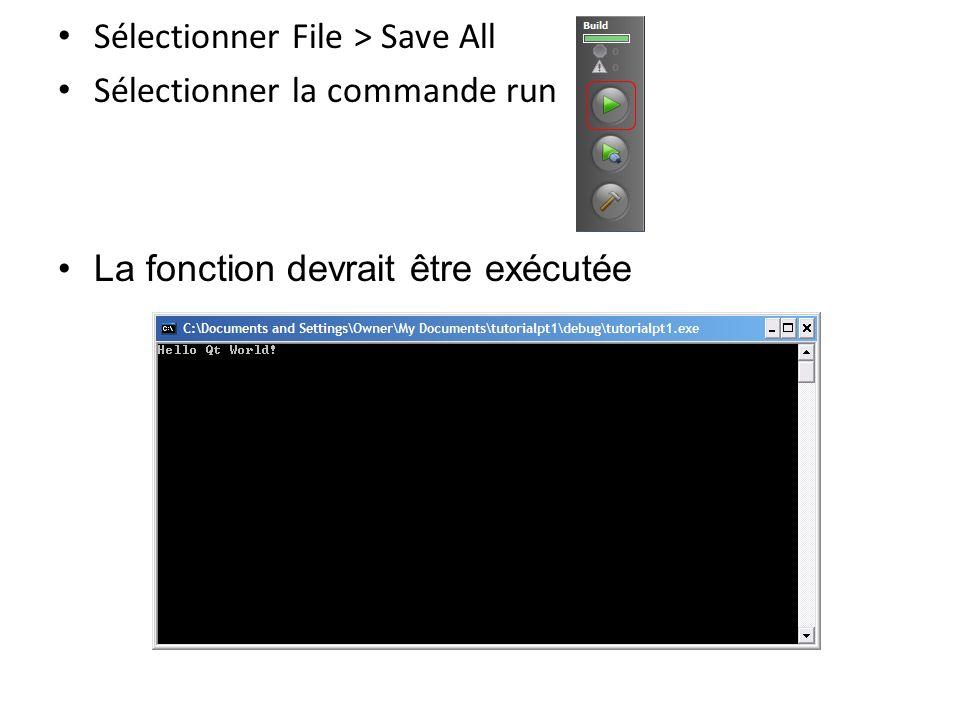 Pt2: Application Hello World Lancer Qt Creator Sélectionner File > New > Qt4 Gui Application Donner le nom HelloWorld Sélectionner Next (jusquau bout)