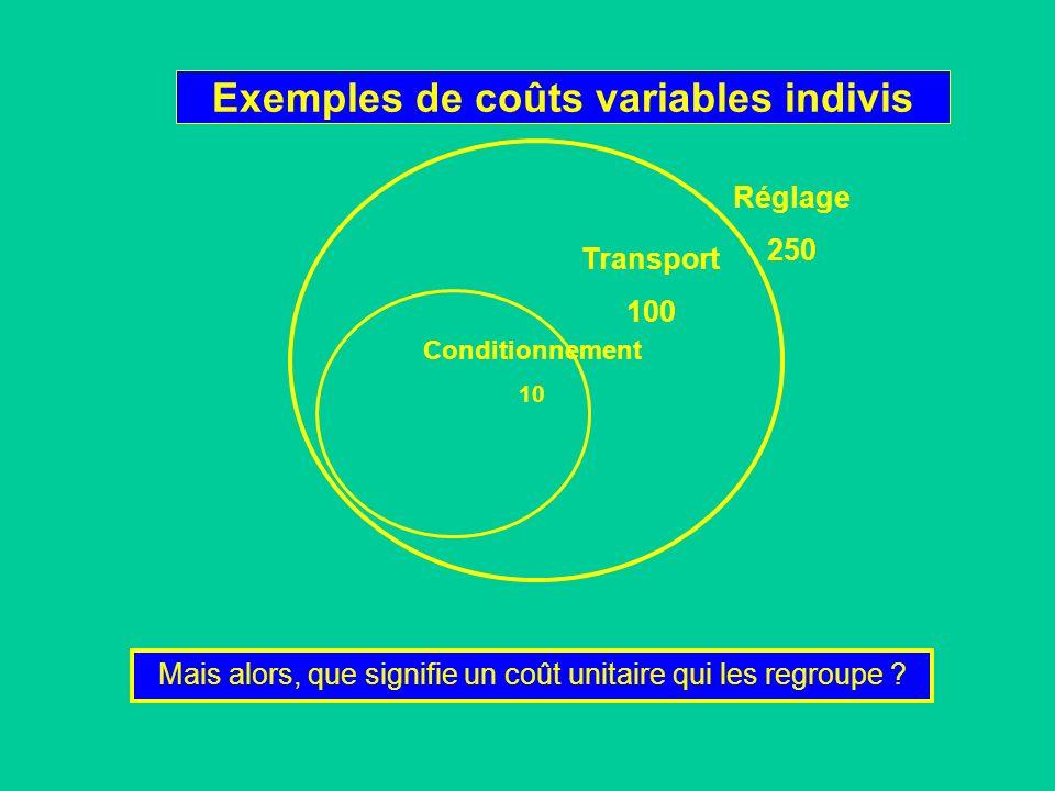 Exemples de coûts variables indivis Conditionnement 10 Transport 100 Réglage 250 Mais alors, que signifie un coût unitaire qui les regroupe ?