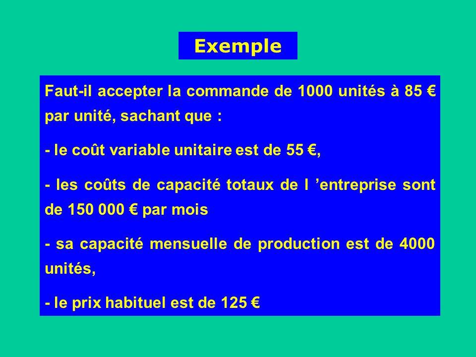Exemple Faut-il accepter la commande de 1000 unités à 85 par unité, sachant que : - le coût variable unitaire est de 55, - les coûts de capacité totau
