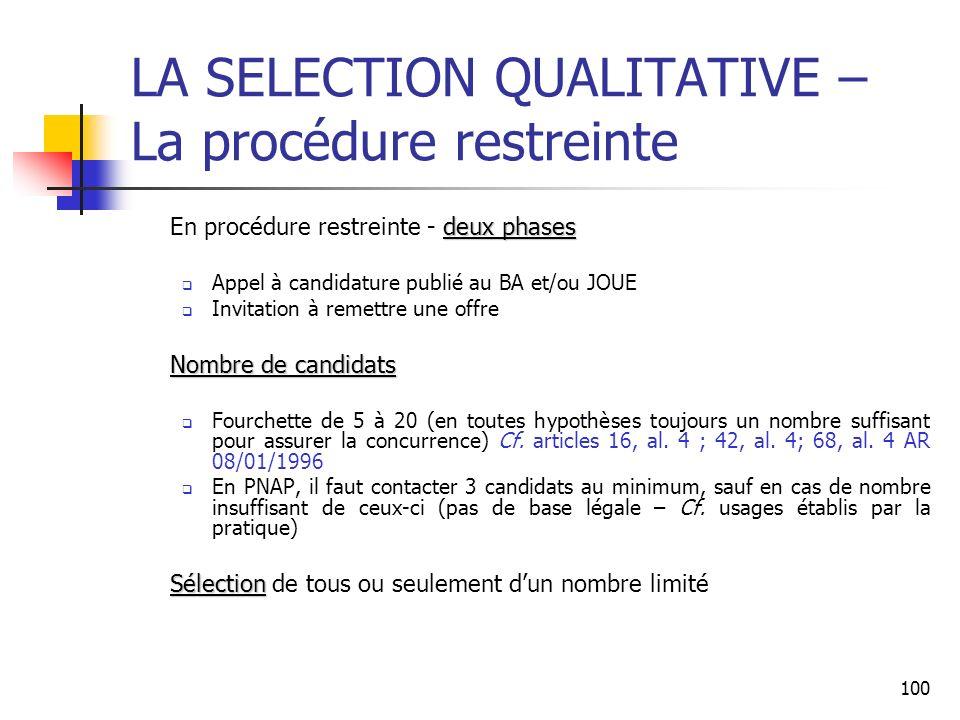 100 LA SELECTION QUALITATIVE – La procédure restreinte deux phases En procédure restreinte - deux phases Appel à candidature publié au BA et/ou JOUE I