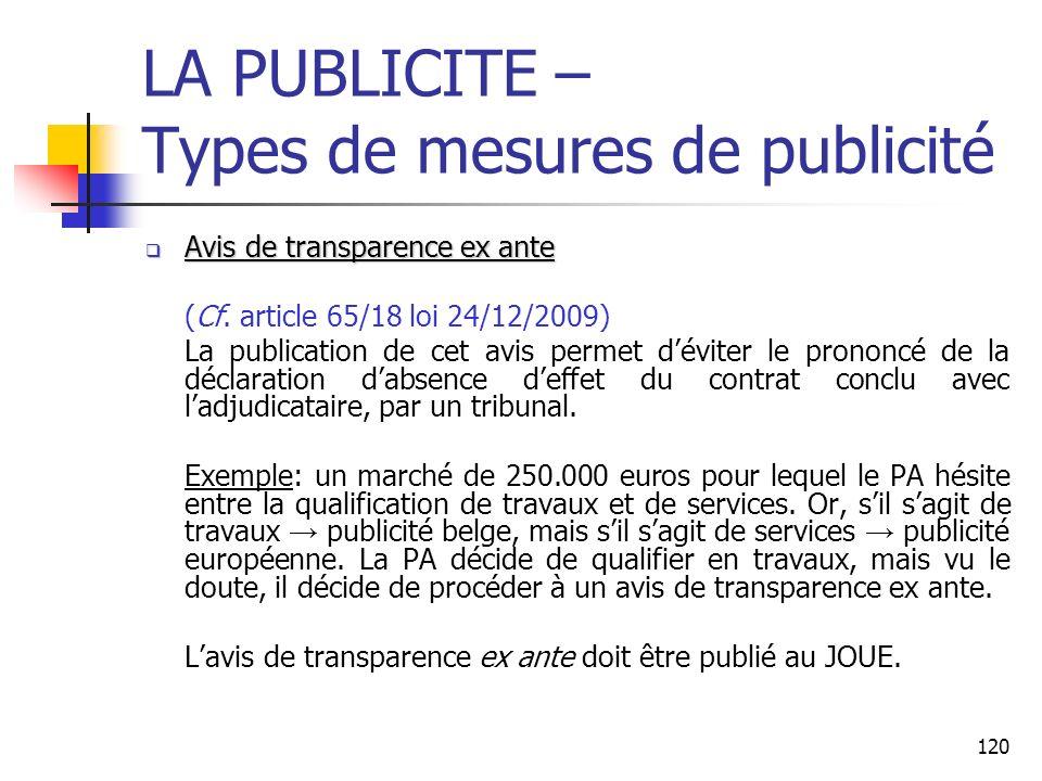 120 LA PUBLICITE – Types de mesures de publicité Avis de transparence ex ante Avis de transparence ex ante (Cf. article 65/18 loi 24/12/2009) La publi