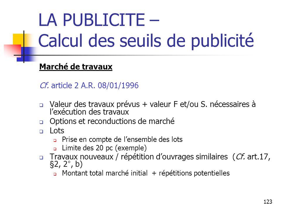 123 LA PUBLICITE – Calcul des seuils de publicité Marché de travaux Cf. article 2 A.R. 08/01/1996 Valeur des travaux prévus + valeur F et/ou S. nécess