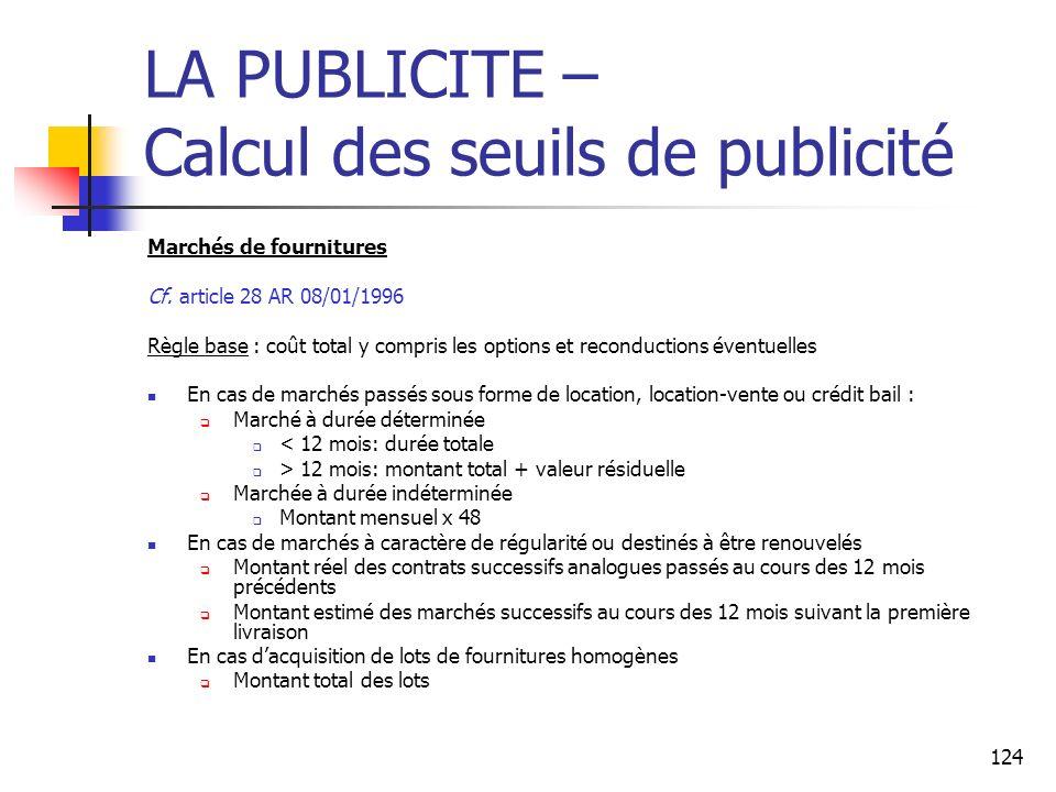 124 LA PUBLICITE – Calcul des seuils de publicité Marchés de fournitures Cf. article 28 AR 08/01/1996 Règle base : coût total y compris les options et