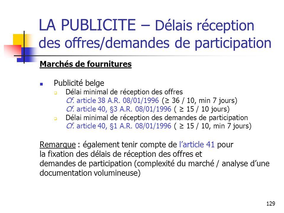 129 LA PUBLICITE – Délais réception des offres/demandes de participation Marchés de fournitures Publicité belge Délai minimal de réception des offres