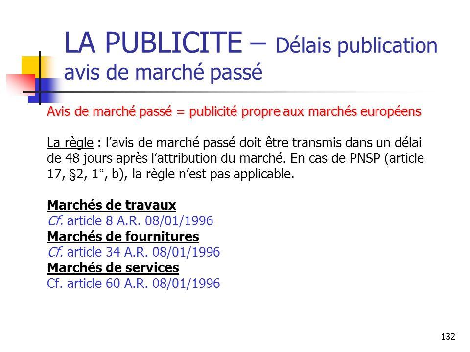 132 LA PUBLICITE – Délais publication avis de marché passé Avis de marché passé = publicité propre aux marchés européens La règle : lavis de marché pa