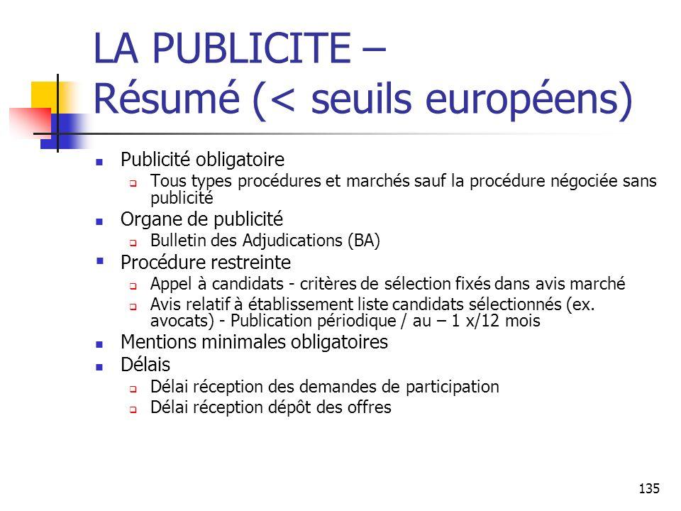 135 LA PUBLICITE – Résumé (< seuils européens) Publicité obligatoire Tous types procédures et marchés sauf la procédure négociée sans publicité Organe