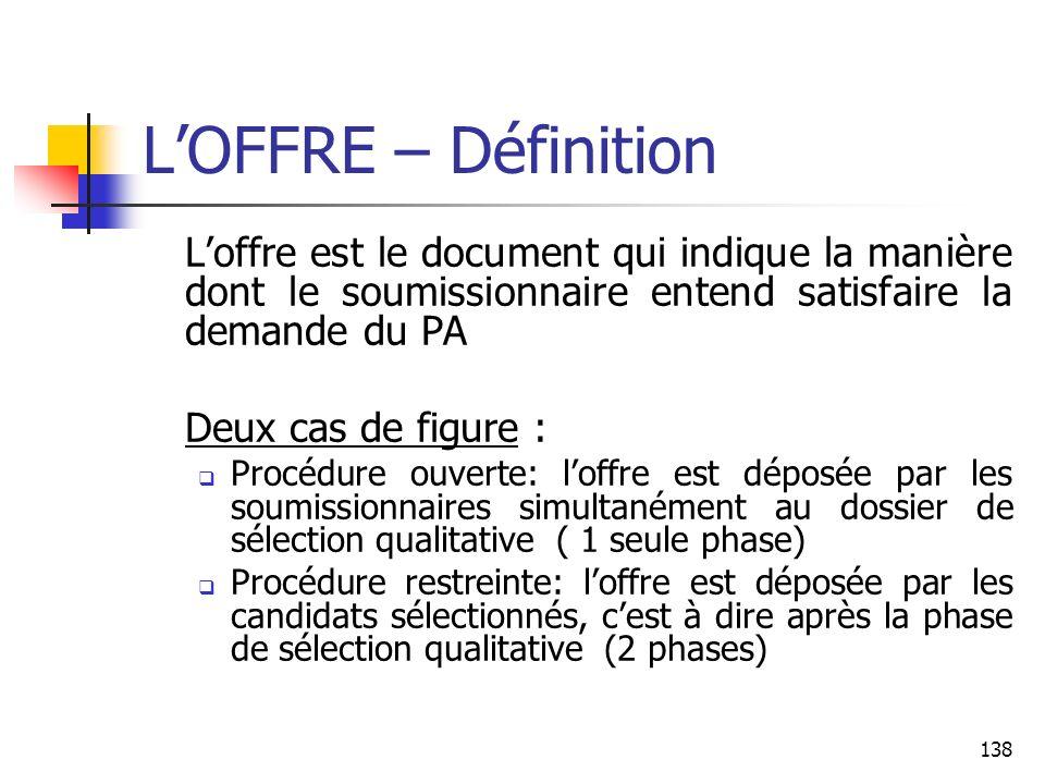 138 LOFFRE – Définition Loffre est le document qui indique la manière dont le soumissionnaire entend satisfaire la demande du PA Deux cas de figure :